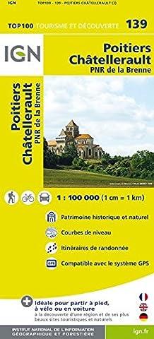 Top100 139 ~ Poitiers - Chatellerault carte tourisme et découverte avec une règlegraduée gratuite