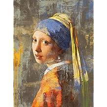 """'Cuadros & Marcos HB–Eric Chestier """"vermeer' S Girl 2.0Quadro Panel, impresión sobre madera, Póster sobre madera, borde negro"""
