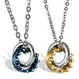 2pieza Acero inoxidable pareja collares Anillo Corona Cadenas con circonitas Rosegold Azul Plata, regalos para mujer hombre