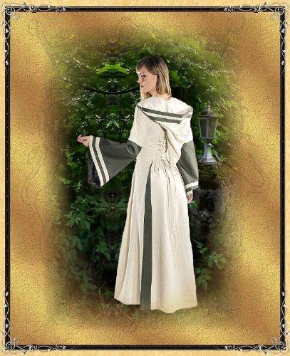 Bäres Mittelalter Zofenkleid - Damen Samira natur/bordeaux