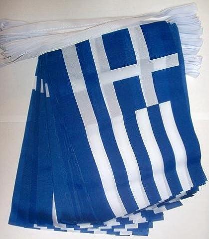 GUIRLANDE 4 mètres 20 DRAPEAUX GRÈCE 15x10 cm - DRAPEAU GREC 10 x 15 cm - AZ FLAG