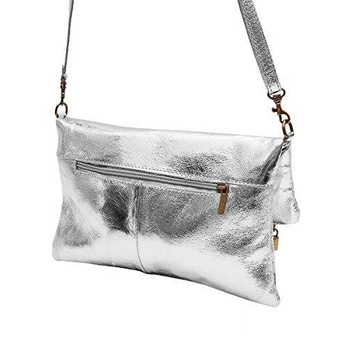 Clutch ,Borse a spalla (28 / 19 / 4 cm ) in pelle Mod. 2059 by Fashion-Formel grigio scuro