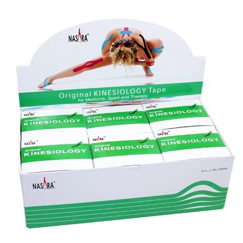 NASARA Kinesiologie Tape kinesiologische Tapes * grün * 5m x 50mm * Spenderbox (6er VE Umkarton)