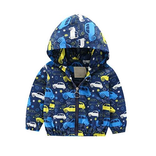Floridivy Kleine Junge Auto Cute Printed Jacket Zip Hoodie beiläufige Leichte Windjacke Mantel für Kleinkind