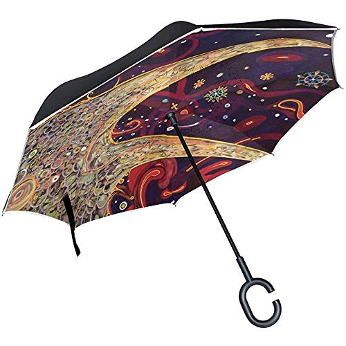 Paraguas Inverso Hippie Love Paraguas Invertido Reversible para Golf Car Travel Rain Outdoor