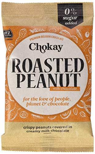 Chokay schokolade Knusprig geröstete Erdnüsse mit Cremige Belgischen Schokolade, ohne Zuckerzusatz, 4er Pack (4 x 50 g)