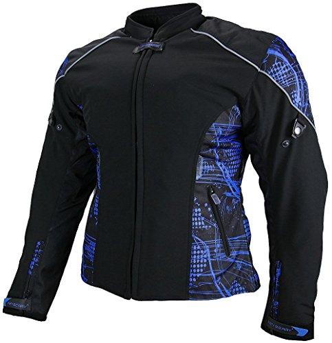 Heyberry Damen Motorradjacke Textil Soft Shell Schwarz Blau Gr. L / 40