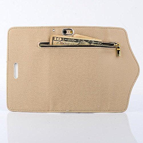 Custodia inShang cover per iPhone 6 4.7, Cover con Cerniera + build-in tasca , Supporto rigido per iphone6 Case in pelle PU, , + inShang Logo pennino di alta classe+ inShang Logo pennino di alta clas zipper gold