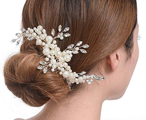 Creme simulierte Perlen ?sterreichischen Kristall-Bl?tter Brauthaar Kamm Hochzeit Accessories - 5