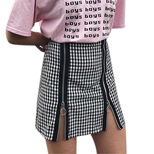 LHWY Kleider Damen Elegant, Frauen Vintage Party Kleid Plaid Reißverschluss Splicing Paket Gesäß Mini Rock Weibliche Hoch Taillierte Shorts Schwarz (M, Black) (Rock Maxi Plaid)