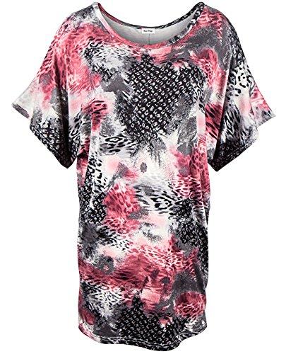 KorMei Damen Fledermausärmel T Shirt Sommer Rundhals Batwing Kurzarm Lange Bluse Schwarz&Rosa