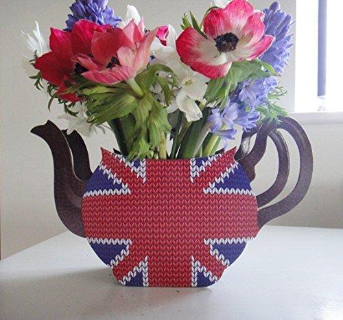 Carpeta Blume-Vase * Union Jack * als Teepot   Beidseitig dedruckt   UK GB England Großbritannien Deko