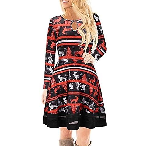 FORH Winter Damen Weihnachten Stil Santa Elch Gedruckt Lange Ärmel Spitze Kleid Niedlich Festlicher Spaß muster Swing Kleider Geschenk Mini Kleid Partykleid Cocktailkleid (L, Rot(Elch))
