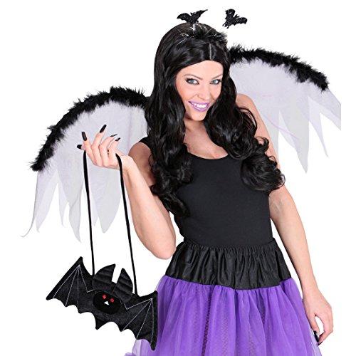 NET TOYS Fledermaus Handtasche Gothic Tasche schwarz Vampir Täschchen Damenhandtasche Halloween Kostüm Zubehör