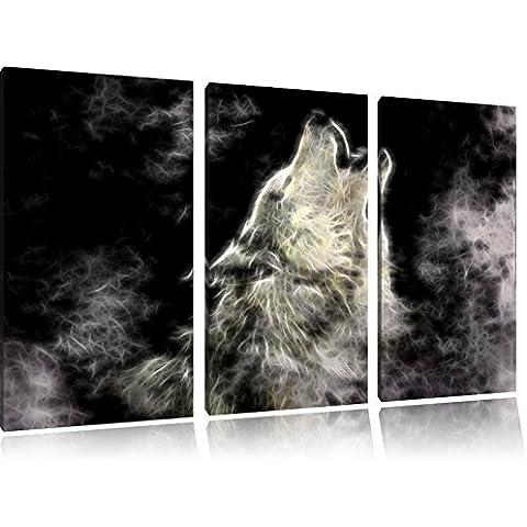 Lupo Art Special 120x80 immagine tela di canapa 3 pezzi di urlo su tela, enorme XXL Immagini completamente Pagina con la barella, stampe d'arte su murale con telaio, più economico di pittura o pittura ad olio, nessun manifesto o poster