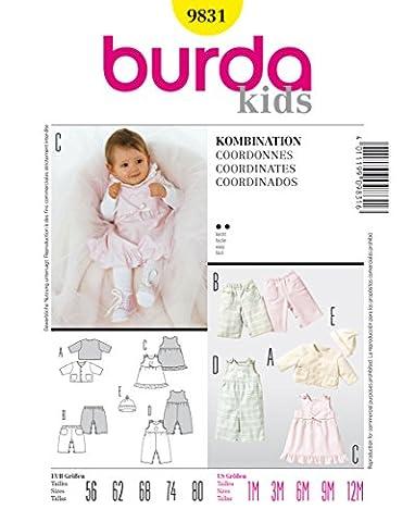 Burda 9831 Schnittmuster Jacke Hose Kleid Mütze (Baby, Gr. 56 - 80) Level 2 leicht