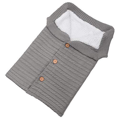 Lanceasy Babydecke für Babys, gestrickt, gehäkelt, Winter, warm grau
