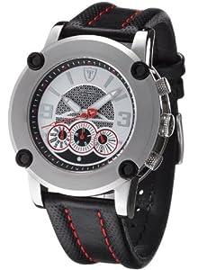 Reloj DeTomaso DT1001B de caballero de cuarzo con correa de piel negra (cronómetro) - sumergible a 50 metros de Detomaso