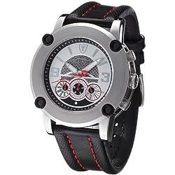 DETOMASO Men's Monterosso Quartz Watch with Multicolour Dial Analogue Display and Black Leather Bracelet DT1001B