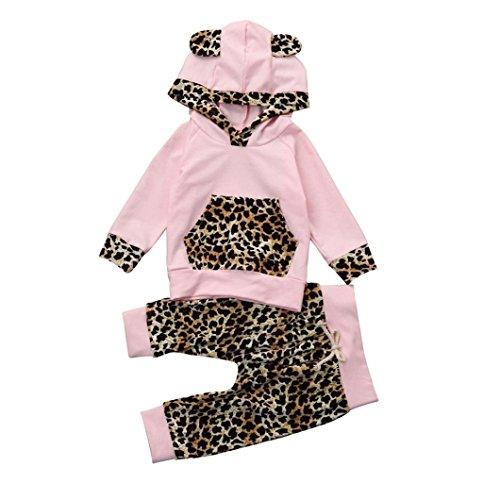 URSING Neugeborenes Säugling Baby Junge Mädchen Leopard Drucken Wildlife Hoodie Pullover Kapuzenpullover Kapuzenhemd Oberteil+Sport Hosen Jogginghose Outfit Kleidung Set Babyausstattung (70, Rosa) (Leopard Baby-mädchen)