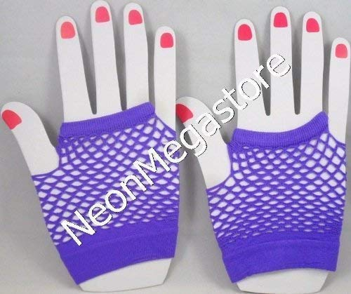 Fischnetz-shorts (Neonfarben Shorts Fischnetz Handschuhe (Paar) - Lila)