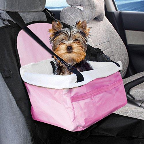 Prime Paws, seggiolino pieghevole per il trasporto in auto di cani, gatti, cuccioli, animali domestici con cintura di sicurezza