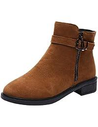 Willsego Zapatos Planos para Mujer Martain Boot Suede Hebilla Correa Botas  Punta Redonda Mantener los Zapatos 6944975665767