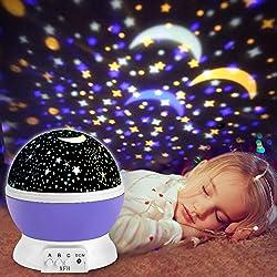 Proyector de Estrellas, innislink luz del proyector 360 Grados romántica Cosmos Luna de luz nocturna dormitorio para niños, bebés, regalos de la Navidad, los amantes lámpara de proyección, púrpura