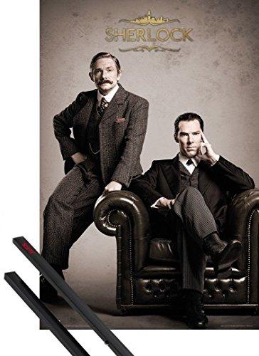 Poster + Sospensione : Sherlock Poster Stampa (91x61 cm) Victorian E Coppia Di Barre Porta Poster Nere 1art1®