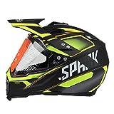 Woljay Cross Offroad Helm Motocross-Helm Fahrrad Für ATV MX Motocross Helm mit Sonnenblende Klar Gelb Trupp (XL)