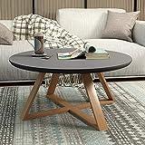 CLLCR Teetisch, Rundes Schlafzimmer, Kleiner Couchtisch, Einfaches Wohnzimmer, Kreativer Massivholz-Beistelltisch, Kleiner Runder Kleiner Schreibtisch,Schwarz,80 cm / 31.5In