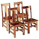 Festnight 4X Esszimmerstühle Küchenstuhl Stuhl Set Massives Sheesham-Holz