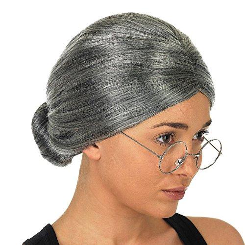 Dame Oma  sunnymi Halloween Party Perücken Haarteile Haar Extension (Grau) (Alte Dame Halloween Haar)