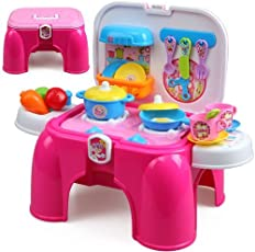 Toyshine Carry Along Kitchen Play Set with Sitting Stool and Music Effect