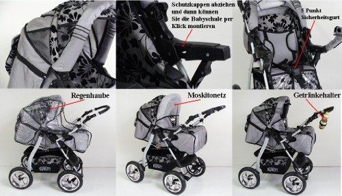 3 in 1 Kombikinderwagen Komplettset VIP – inkl. Kinderwagen, Babyschale und Sportwagen Aufsatz – 4. Grau Hartgummi Bereifung – 38. Braun-Cream