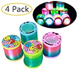 GbaoY 4 Pcs Mini Rainbow Spring Toy for Fun and Party Supplies, Glow in Dark Walking Rainbow Spring Toy Circle Slinky Magic Circle Stretchy (Style1)