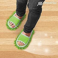 X6 Clean & Go Zapatillas Mopa, Chenilla, Microfibra, Verde, 27x11x5 cm