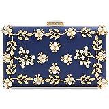 Milisente Damen Blumen Clutch Elegante Abendtasche Perle Tasche Hochzeit Handtasche (Blau)