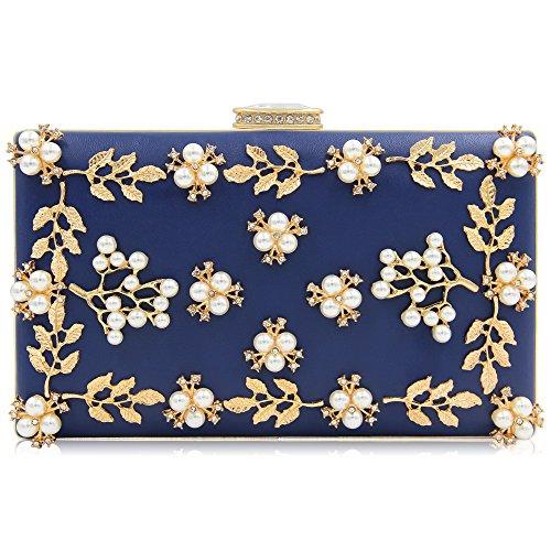 Für Clutch-taschen Frauen (Milisente Frauen Perle Wulst Blumen Clutch Tasche Damen Abendtaschen Hochzeit Handtasche (Blau))