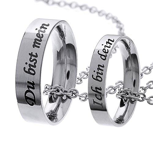 MJARTORIA Damen Halskette Silber Farbe Sperren Schlüssel Partnerketten mit Gravur Ring Kreis Ketten Stück 2 (Ich bin dein , du bist mein)