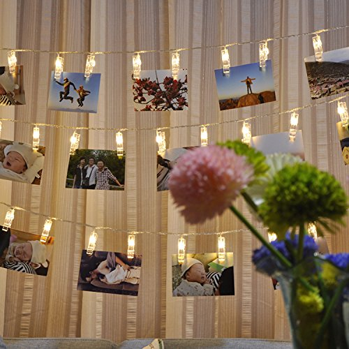 Photo Clips LED String Lights-Starry Battery Card Photo Clip Decoration Home Party Christmas & Wedding (3 AA Batterie) (Low-book-display)