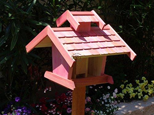 Vogelhaus-futterhaus, BEL-X-VOVIL4-pink002 Großes PREMIUM Vogelhaus WETTERFEST, QUALITÄTS-SCHREINERARBEIT-aus 100% Vollholz, Holz Futterhaus für Vögel, MIT FUTTERSCHACHT Futtervorrat, Vogelfutter-Station Farbe pink rosa rosarot süß, MIT TIEFEM WETTERSCHUTZ-DACH für trockenes Futter - 2