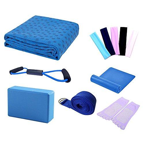 niceEshop(TM) Yoga Starter Kit - 7 Stück Essentials Anfänger Bundle Umfassen Yoga Tuch, Yoga Blöcke, Yoga Strap, Stretch Band, Yoga Socke, Yoga Kopfband, Spring Kabel, Blau (Yoga-ausrüstung Bundle)