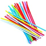 Futurekart Bendable Neck Plastic Drinking Straws Pack of 200 pcs - Suitable for Soft Drinks, Juices, Ice Tea, Butter Milk and Cocktails - Multicolor - (Pack of 200 Pcs)