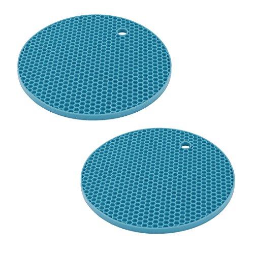 sourcingmap® 2x Familie Bienenwabe Design Rutschfeste Schüssel Hitzebeständige Matte Pad blau
