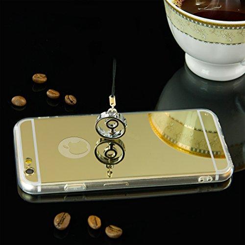 EGO® Luxus TPU Spiegel Schutzhülle Case für iPhone 6 / 6s schwarz Back Cover mit Glanz Mirror Schutz-Case Silikon Gold