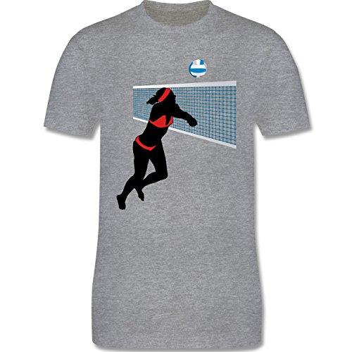 Volleyball - Beachvolleyballspielerin Baggern Netz Ball - Herren Premium T-Shirt Grau Meliert