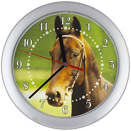 SELVA Kinderwanduhr - Pferde-Motiv - ABS-Gehäuse - Plastikglas - Geräuschlos - Ø 25 cm