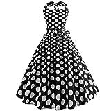 VEMOW Elegante Damen Bowknot Abendkleider Vintage Bodycon Sleeveless Halter beiläufige Tägliche Abend Party Prom Swing A-Linie Kleid Schulterfrei Faltenrock Cocktailkleider(Schwarz, EU-36/CN-S)