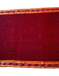 Sambalpuri Handloom Ikat cotton saree(Maroon with yellow Anchal)